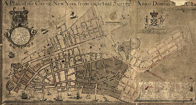 Map Of New York Drawing - Antique Map Of New York City By Francis W. Maerschalck - Circa 1755 by Blue Monocle