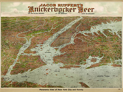 Beer Drawing - Antique Map Of New York City By Jacob Ruppert - 1912 by Blue Monocle