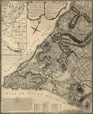Map Of New York Drawing - Antique Map Of New York City By John Montresor - 1766 by Blue Monocle