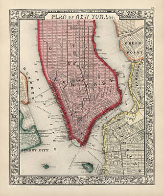 City Art Drawing - Antique Map Of New York City By Samuel Augustus Mitchell - 1863 by Blue Monocle