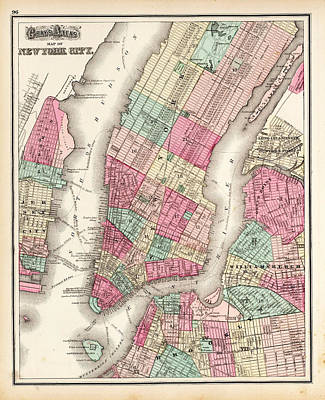 Kim Fearheiley Photography - Antique Map Of New York City by Celestial Images