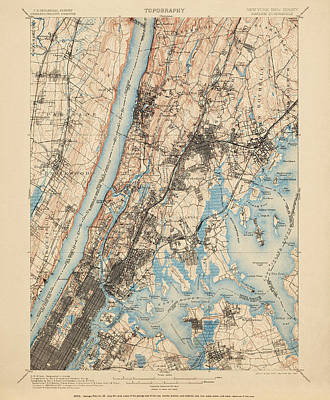 Map Of New York Drawing - Antique Map Of New York City - Usgs Topographic Map - 1900 by Blue Monocle