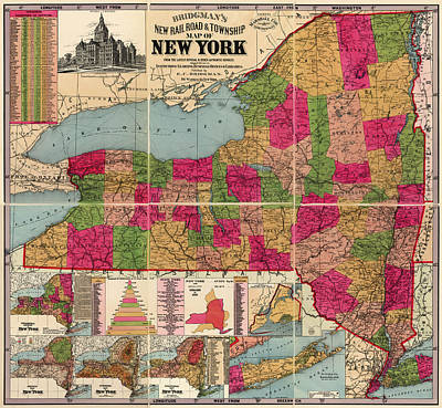 Art Print featuring the drawing Antique Map Of New York State By E. C. Bridgman - 1896 by Blue Monocle