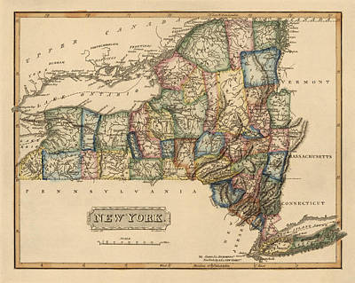 New York City Drawing - Antique Map Of New York State By Fielding Lucas - Circa 1817 by Blue Monocle