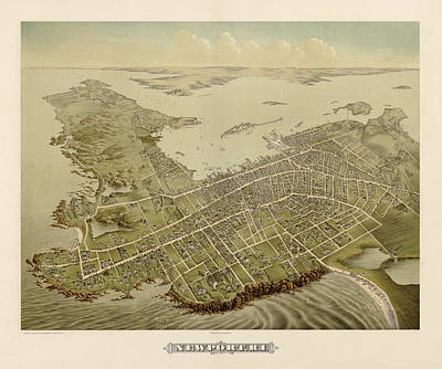 Drawing - Antique Map Of Newport Rhode Island By Galt And Hoy - 1878 by Blue Monocle