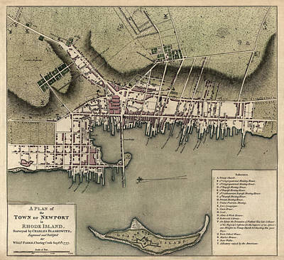 Drawing - Antique Map Of Newport Rhode Island By William Faden - 1777 by Blue Monocle