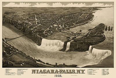 Fall Drawing - Antique Map Of Niagara Falls New York By H. Wellge - 1882 by Blue Monocle