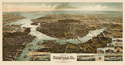 Drawing - Antique Map Of Norfolk And Portsmouth Virginia By H. Wellge - 1892 by Blue Monocle