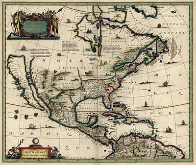 Old Drawing - Antique Map Of North America By Jan Jansson - Circa 1652 by Blue Monocle