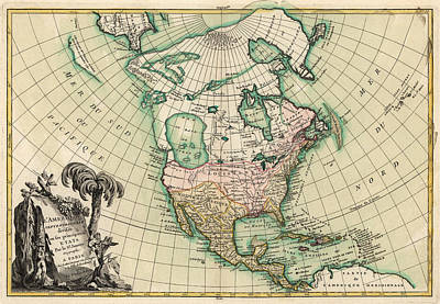 North Drawing - Antique Map Of North America By Jean Janvier - 1762 by Blue Monocle