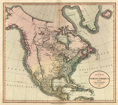 North Drawing - Antique Map Of North America By John Cary - 1811 by Blue Monocle