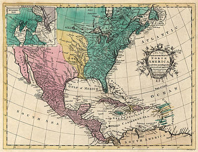 North Drawing - Antique Map Of North America By Richard William Seale - 1763 by Blue Monocle