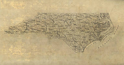 North Drawing - Antique Map Of North Carolina - 1893 by Blue Monocle