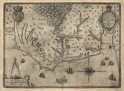 Sound Drawing - Antique Map Of North Carolina And Virginia By John White - 1590 by Blue Monocle