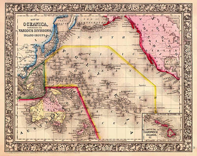 1860 Drawing - Antique Map Of Oceanica 1860 by Mountain Dreams