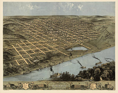 Drawing - Antique Map Of Omaha Nebraska By A. Ruger - 1868 by Blue Monocle