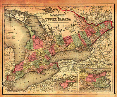 Historic Street Drawing - Antique Map Of Ontario Canada 1855 by Mountain Dreams