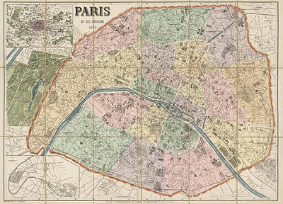 Antique Map Of Paris France By Delagrave - 1878 Art Print