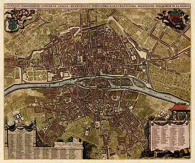 Antique Map Of Paris France By Jacob De La Feuille - Circa 1710 Art Print