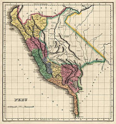 Drawing - Antique Map Of Peru By Henry Charles Carey - 1822 by Blue Monocle