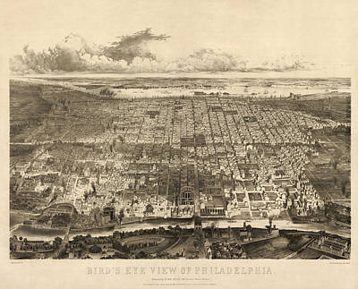 Pennsylvania Drawing - Antique Map Of Philadelphia By John Bachmann - 1857 by Blue Monocle