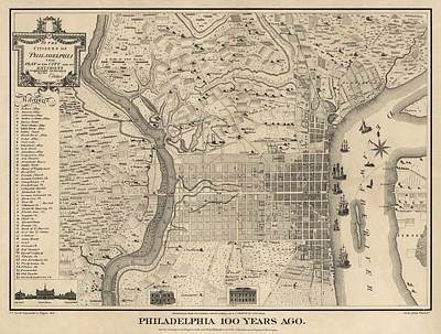Americas Map Drawing - Antique Map Of Philadelphia By P. C. Varte - 1875 by Blue Monocle