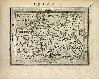 Drawing - Antique Map Of Poland By Abraham Ortelius - 1603 by Blue Monocle