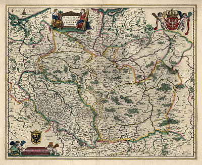 Drawing - Antique Map Of Poland By Willem Janszoon Blaeu - 1647 by Blue Monocle