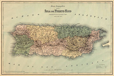 Antique Map Of Puerto Rico - 1886 Art Print by Blue Monocle