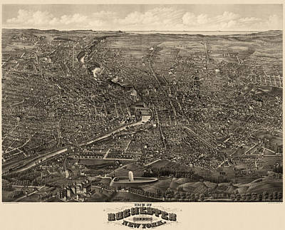 Drawing - Antique Map Of Rochester New York By H.h. Rowley And Co. - 1880 by Blue Monocle