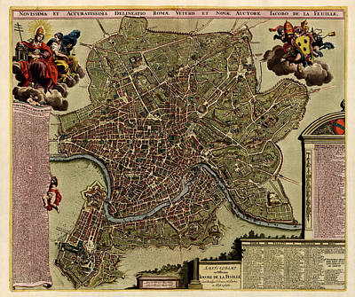Rome Drawing - Antique Map Of Rome By Jacob De La Feuille - Circa 1710 by Blue Monocle