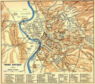 Empire State Drawing - Antique Map Of Rome During Antiquity 1870 by Mountain Dreams