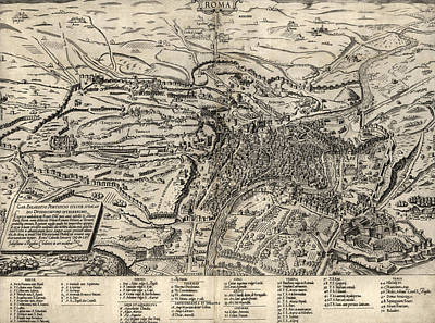 Rome Drawing - Antique Map Of Rome Italy By Sebastianus Clodiensis - 1561 by Blue Monocle