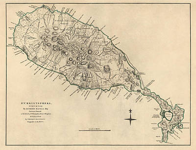 Drawing - Antique Map Of Saint Kitts And Nevis By Thomas Jefferys - 1768 by Blue Monocle
