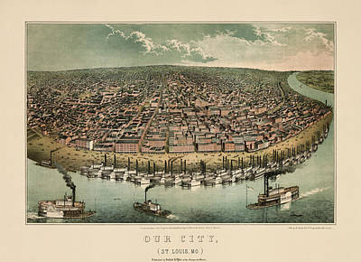 Drawing - Antique Map Of Saint Louis Missouri By A. Janicke And Co. - Circa 1859 by Blue Monocle