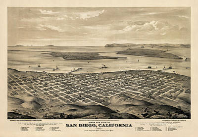 Old Drawing - Antique Map Of San Diego California By E.s. Glover - 1876 by Blue Monocle
