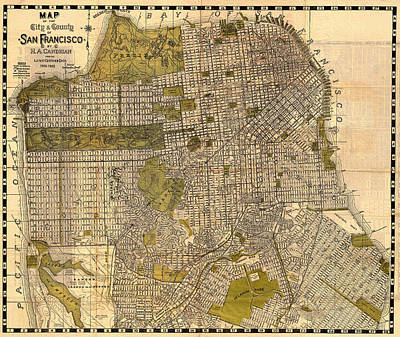 Drawing - Antique Map Of San Francisco 1932 by Mountain Dreams