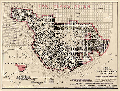 Antique Map Of San Francisco After The Earthquake By Punnett Brothers - 1908 Art Print