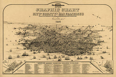Frederick Drawing - Antique Map Of San Francisco By Frederick Marriott - 1875 by Blue Monocle