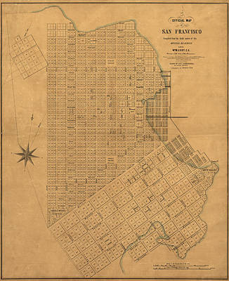 Drawing - Antique Map Of San Francisco By William M. Eddy - 1849 by Blue Monocle