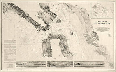 Bay Drawing - Antique Map Of San Francisco - Usgs Coast Survey Map - 1859 by Blue Monocle