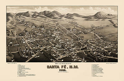 New Mexico Drawing - Antique Map Of Santa Fe New Mexico By H. Wellge - 1882 by Blue Monocle
