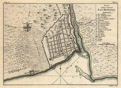Drawing - Antique Map Of Santo Domingo Dominican Republic By Thomas Jefferys - 1768 by Blue Monocle