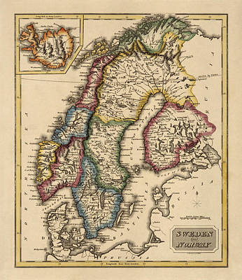 Norway Drawing - Antique Map Of Scandinavia By Fielding Lucas - Circa 1817 by Blue Monocle