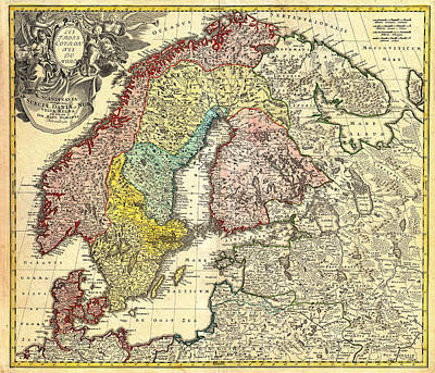 1730 Drawing - Antique Map Of Scandinavia Finland And The Baltics 1730 by Mountain Dreams