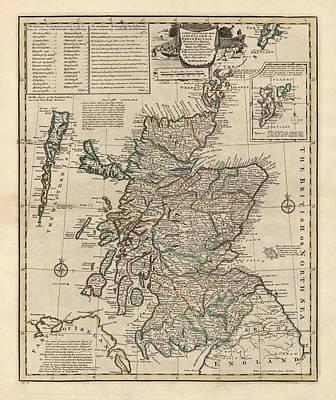 Antique Map Of Scotland By Emanuel Bowen - 1752 Art Print by Blue Monocle
