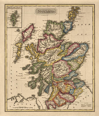 Old Map Drawing - Antique Map Of Scotland By Fielding Lucas - Circa 1817 by Blue Monocle