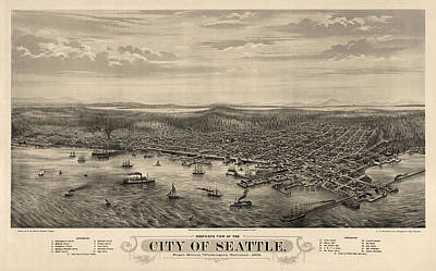 Drawing - Antique Map Of Seattle Washington By E.s. Glover - 1878 by Blue Monocle