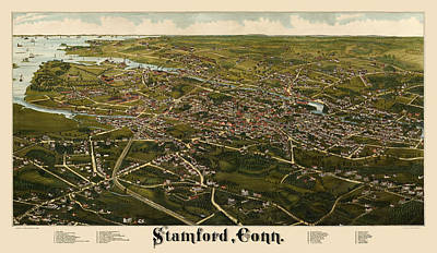 Stamford Drawing - Antique Map Of Stamford Connecticut By L. R. Burleigh - 1883 by Blue Monocle