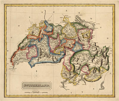 Antique Map Of Switzerland By Fielding Lucas - Circa 1817 Art Print by Blue Monocle
